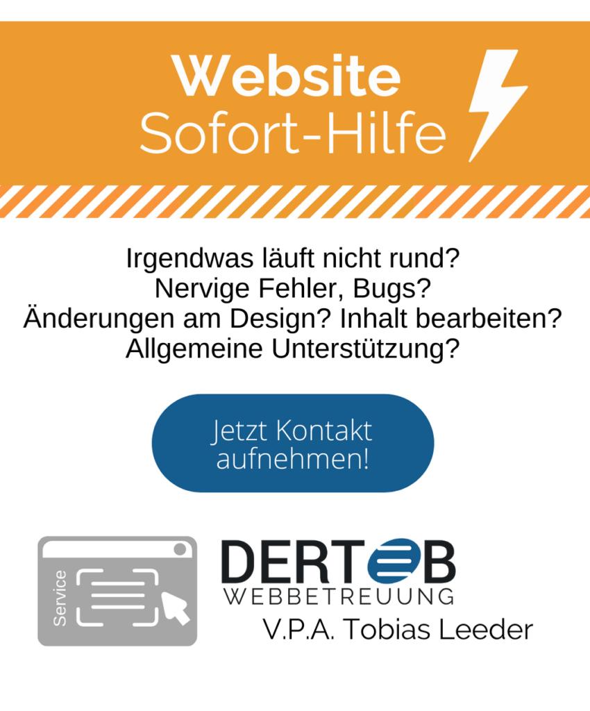 DERTOB Webbetreuung Webdesign Sofort-Hilfe